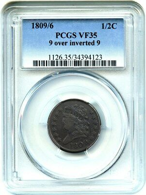1809/6 1/2c PCGS VF35 (9 over inverted 9) Scarce, Early Half Cent - Half Cent