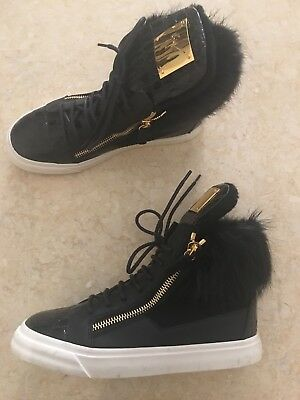 GIUSEPPE ZANOTTI Leather Trainers Sneakers Shoes with Real Fur and Zips 38 UK 5