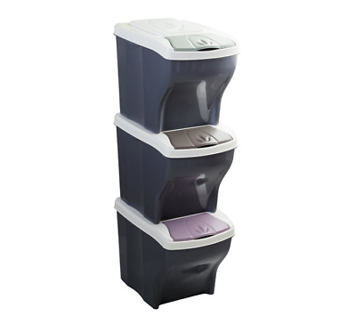 Set of 3 Recycling Rubbish Collection Bins Sorting Waste Disposal 3 x 20 Litres