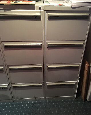 Two Namco Grey Metal 4 Draw Filing Cabinets