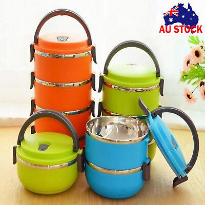 AU Hot 1/2/3/4 Layer Stainless Steel Insulated  Food Thermal Container Lunch Box