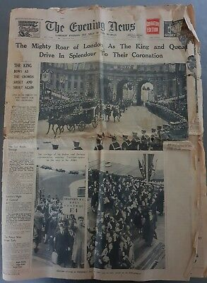 Rare 'the Evening Times' Coronation Of King George Vi Queen Elizabeth Newspaper