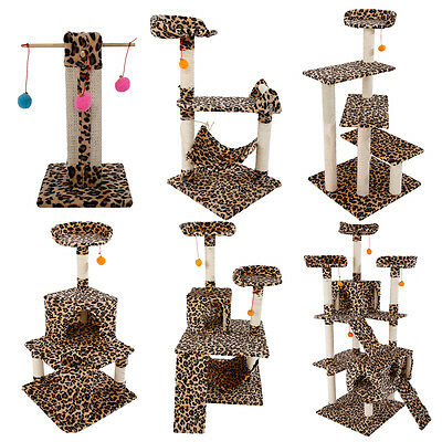 """New Leopard Print Cat Tree Furniture Condo Scratching Post Pet House Toy 20""""-72"""""""
