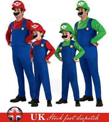 Mens Adult Kid Super Mario and Luigi Bros Fancy Plumber Halloween Costume Outfit