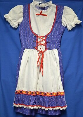 German Oktoberfest dirndl girls Blue one piece size 7