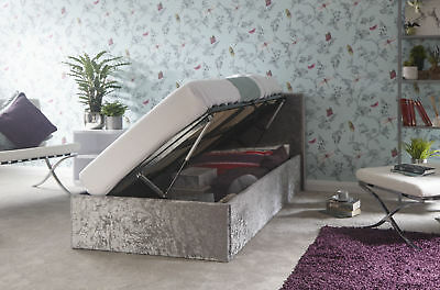 Crushed Velvet Side Lift Fabric Ottoman Bed Built-in Storage - 3ft Single