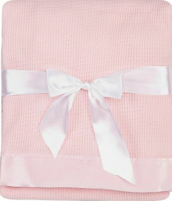 Thermal Waffle Weave Baby Blanket with Satin Nylon Trim (pink) Pink New