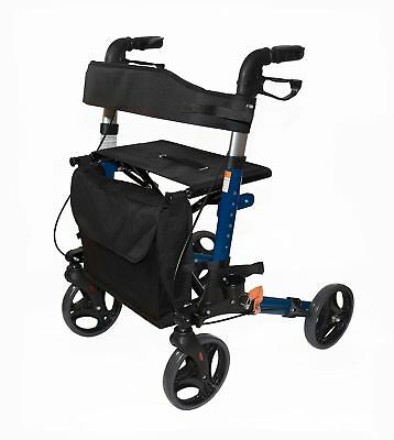 AdirMed Four Wheel, Euro Style, Easey to Fold Rollator Walker with Pouch ... New
