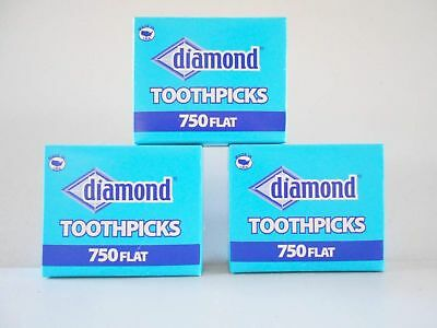 Wooden Flat Toothpicks 3-pack (2250 Total) Tray Box New