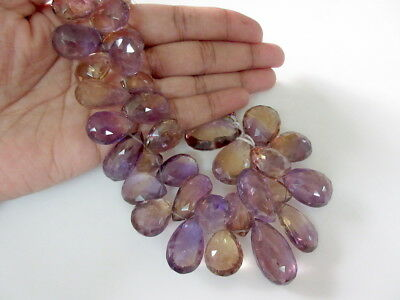"""8.5"""" Huge 17mm To 27mm AAA Ametrine Faceted Pear Shaped Briolette Beads-GDS957"""