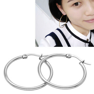 3 pairs Woman 15mm 20mm 25mm Stainless Steel Round Hoop Earrings Chic Jewelry