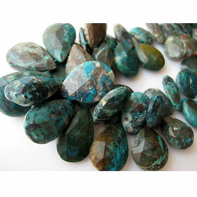 Natural Chrysocolla Faceted Pear Beads 8x12mm To 16x23mm Each 8 Inch half strand