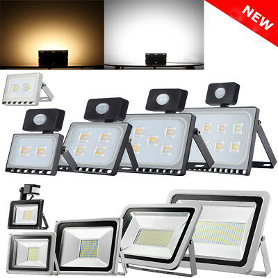 LED Floodlight PIR 10/20/30/50/100W Motion Sensor Outdoor Garden Security Lights