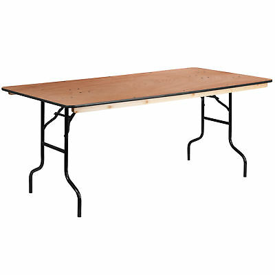 36'' x 72'' Rectangular Wood Folding Banquet Table with Clear