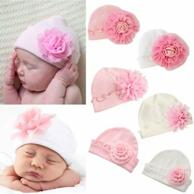 Cute Newborn Girl Toddler Soft Outdoor Autumn Cap Baby Cotton Flower Hat 0-1Year