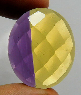 30 Cts. TREATED FACETED BRILLIANT CHECKERS CUT AMETRINE LOOSE GEMSTONE (F163)
