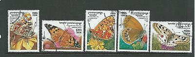 1999 Butterflies Set of 5 Used CTO Nicely Used