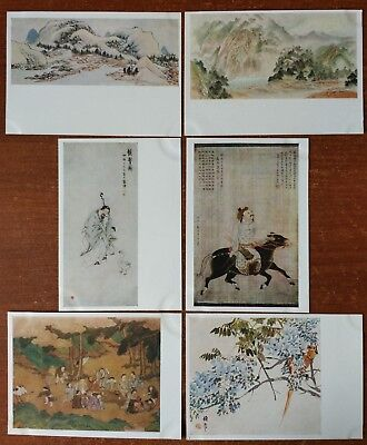 Lot of 6 pcs  CHINESE ART Old man Boy Rider Mountain CHINA Russian Postcard Rare