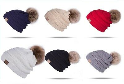 Women's Beanie Ribbed Winter Warm Soft Knit Ski Hat with Faux Fur Pom Pom