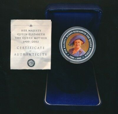 Cook Is: 2002 $1 Queen's Mother 1oz Silver Color Commemorative, Cased with Cert