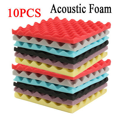 10Pcs Egg Crate Soundproofing Acoustic Wedge Foam Tiles Wall Panels 30x30x3cm