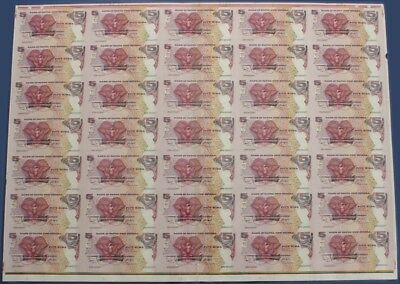 Papua New Guinea: 2007 5 Kina SPG Commem UNCUT SHEET of 35. Pick 34 UNC Cat $373