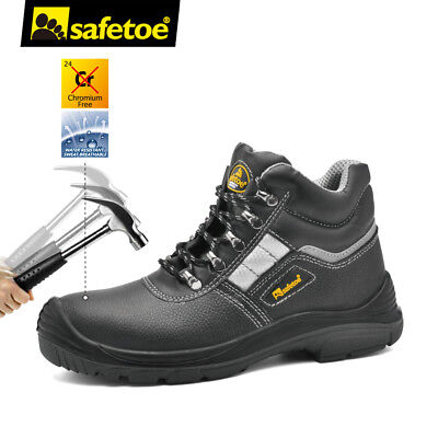 Safetoe Mens Safety Boots Black Work Shoes Water Resistant Steel Toe Reflective