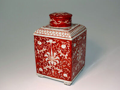 rot weiß Porzellan Teedose Qing-Stil Dose China tea box caddy porcelain chinese