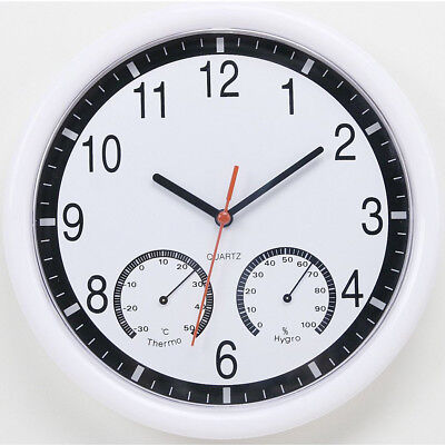 10'' Silent Modern Wall Clock Thermometer & Humidity Living Home Kitchen Office