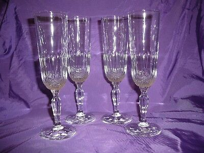 Crystal Champagne Flutes Glasses Set of Four 19cms Weddings Parties