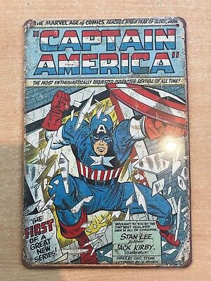 VINTAGE RETRO STYLE METAL TIN SIGN POSTER CAPTAIN AMERICA marvel CAVE WALL HOME