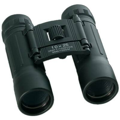 Compact 10x25 Power Lenses Black BINOCULARS & CASE Hunting Guide Birds Camping