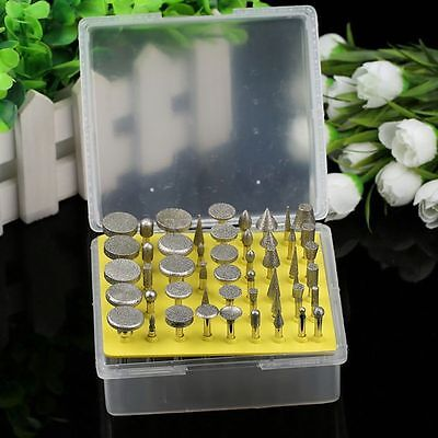 50Pcs Diamond Coated Rotary Grinding Small Head Burr Point Jewelry Mounted Tools