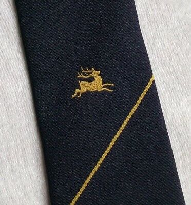 VINTAGE RETRO CLUB ASSOCIATION MENS TIE 1970s 1980s NAVY GOLD DEER BY MACCRAVATS