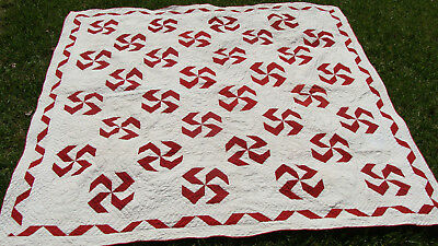 """Spectacular Pinwheel all hand quilted ca 1900 quilt, 78"""" x 76""""  *"""