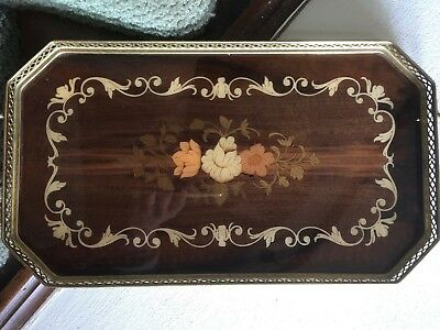 Vintage Marquetry Tray - Made in Italy Beautiful Inlaid Wood Brass Trim/Handles