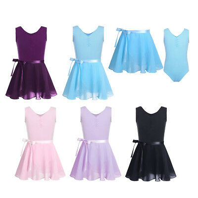 Baby Girls Ballet Dress Leotard+Tutu Wrap Skirt Kids Gym Dancewear Outfits 3-14Y