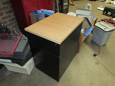 3 Drawer Filing Cabinet/office Drawer Unit, Heavy Duty, Beech And Black
