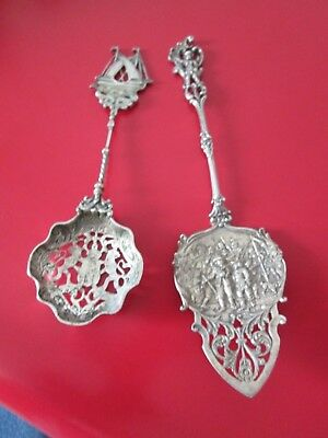 2 Antique Ornate DUTCH 800 SILVER - SERVERS - PASTRY & SUGAR SIFTER both Excell