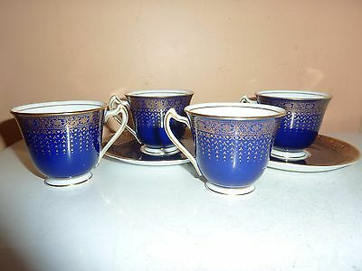 Four Coffee Cups/2 Saucer George Jones Crescent China In Blue With Gilt Pattern