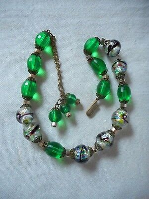 Vintage silver foil murano glass and emerald green faceted plastic necklace