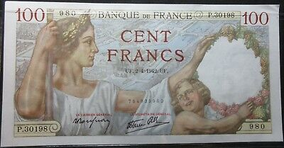 1942 France Hundred Franc Note