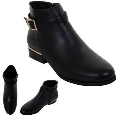 GLH460 Duty Ladies Leather Suede Contrast Low Block Heel Ankle Boots Shoes