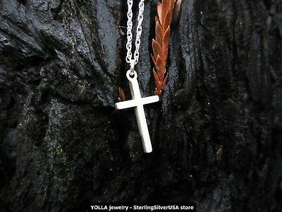 Pure Sterling Silver Cross Pendant with Sterling Silver Chain Necklace - USA