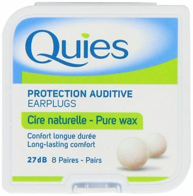 Quies Pure Natural Wax Ear Plugs x 8 Pairs (FREE UK P&P )