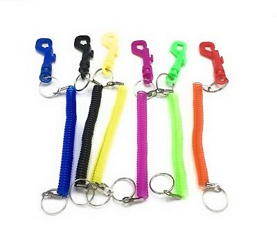 Retractable Spiral Stretchy Elastic Coil Keyring Key Chain Ring Plastic