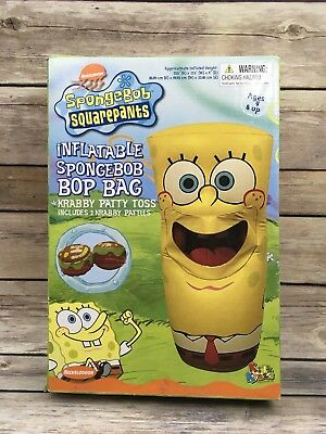 "Spongebob Squarepants 33.5"" Inflatable Spongebob Bop Bag Krabby Patty Toss"