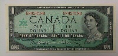 1967  Bank Of Canada $1.00 Banknotes Confederation Au  Serial Number