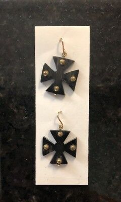 Ashley Pittman New Arba Studded Dark Horn Earrings Maltese Cross Drop MRSP $315