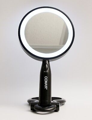 Conair Lighted Makeup Mirror Led With Folding Base Stand Black
